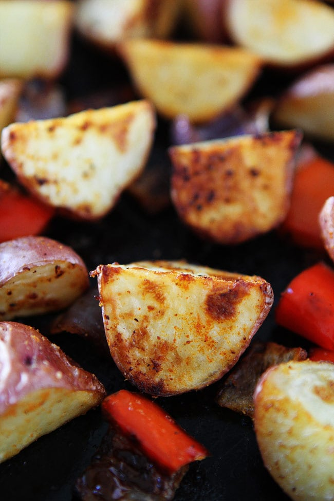 Closeup of perfectly Roasted Breakfast Potatoes