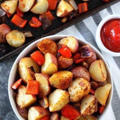 Baked breakfast potatoes in serving dish