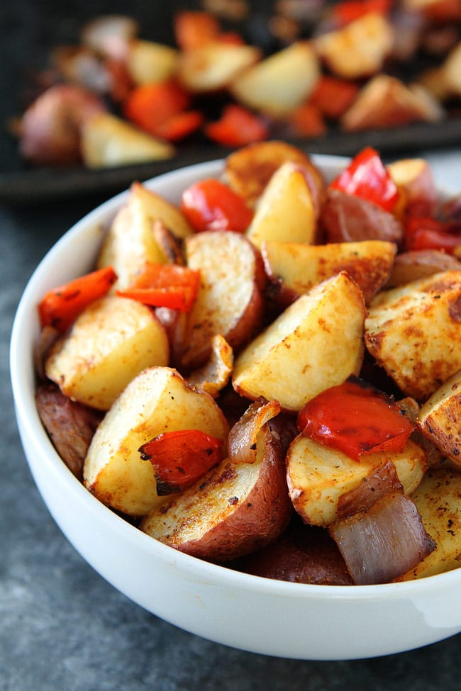 Baked Breakfast Potatoes with onion and peppers