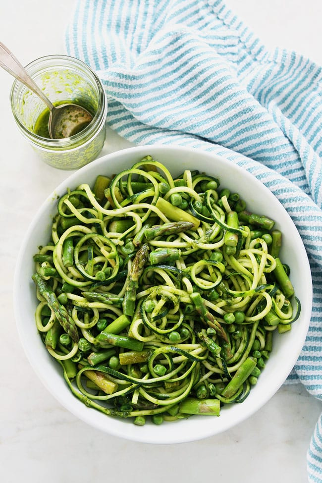 Zucchini Noodles with Asparagus, Peas, and Basil Vinaigrette Recipe