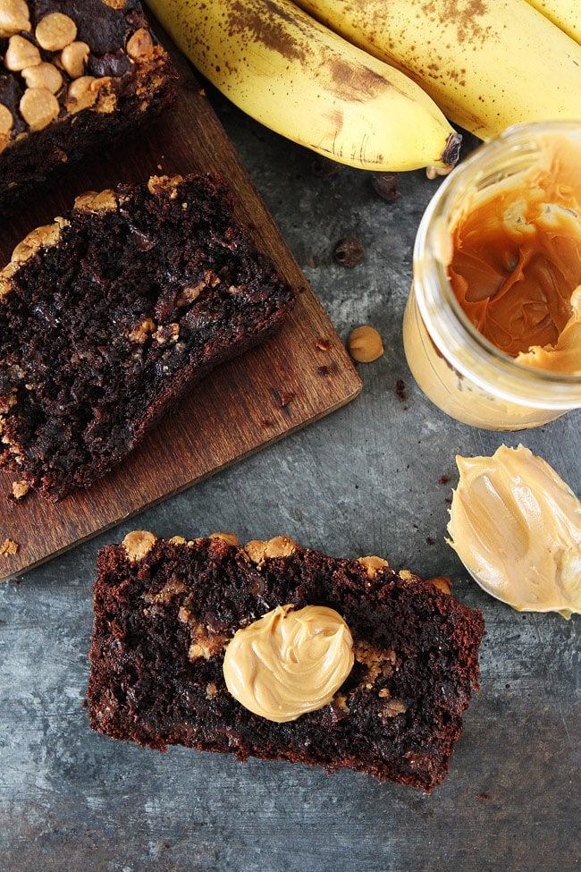 Chocolate Peanut Butter Banana Bread Moist chocolate banana bread with a peanut butter swirl and peanut butter chips on top! This quick and easy banana bread recipe is the BEST!