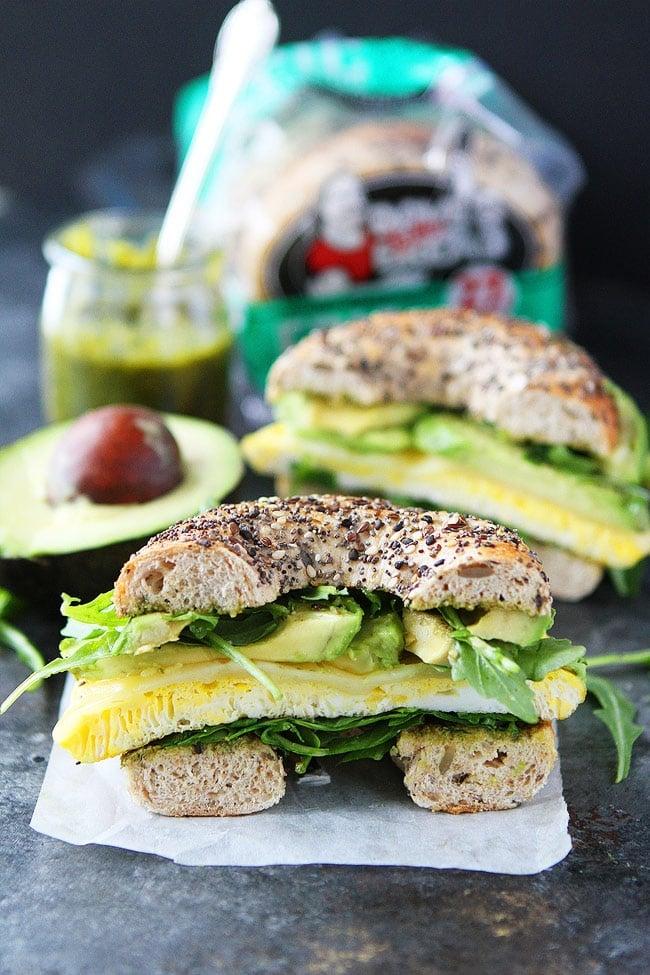 Egg, Avocado, and Pesto Bagel Sandwich Recipe