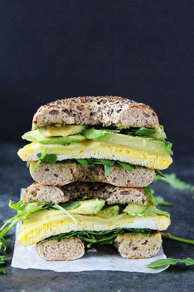 Egg, Avocado, and Pesto Bagel Sandwich stacked