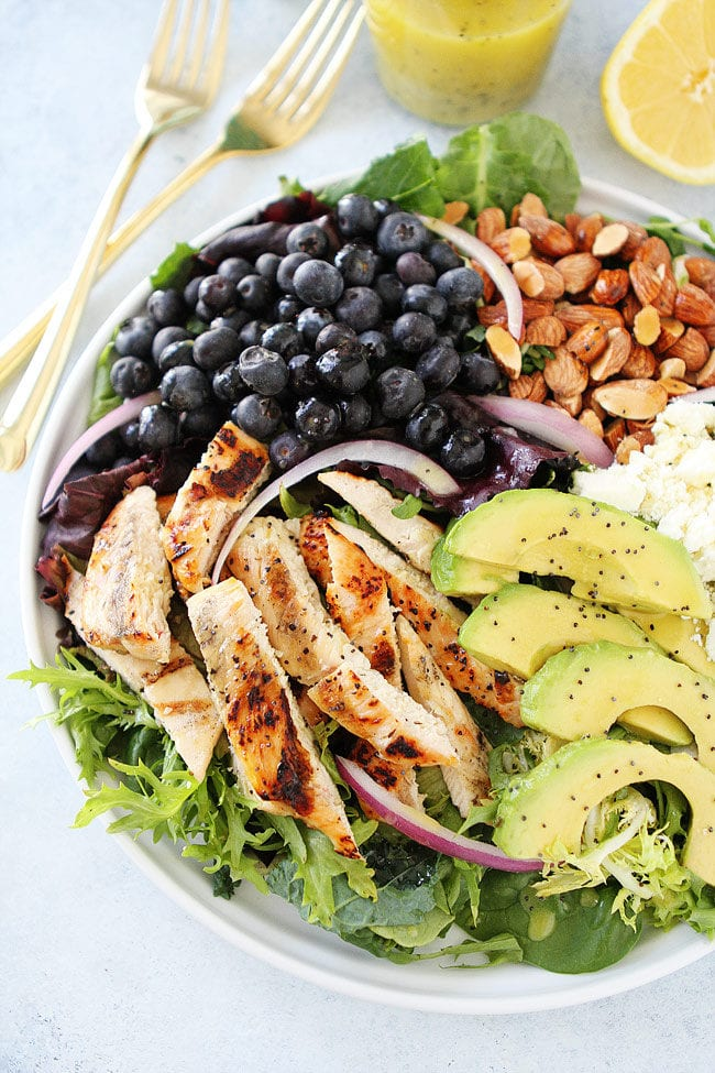 Grilled Chicken Blueberry Feta Salad with avocado, almonds, red onion, and a simple lemon poppy seed dressing. This easy salad is a summer dinner favorite.