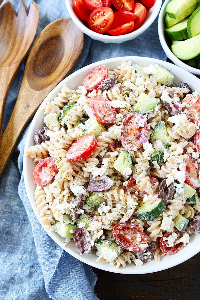 Greek Pasta Salad made with Greek Yogurt