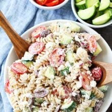 Greek Pasta Salad made with Green Yogurt, ready to serve