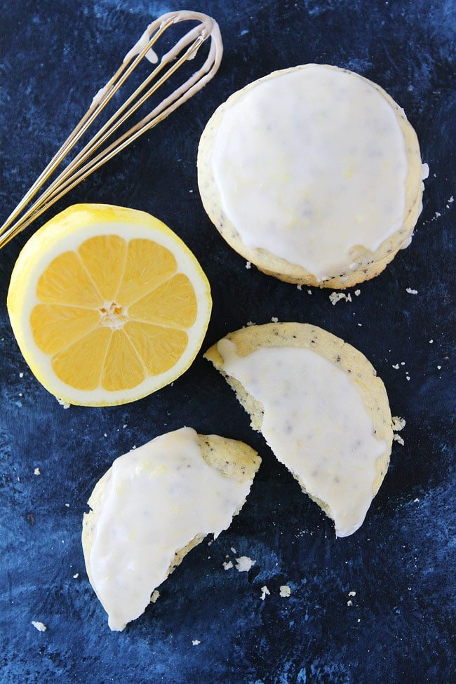 Soft Lemon Poppy Seed Cookies with lemon icing make a great dessert for any occasion