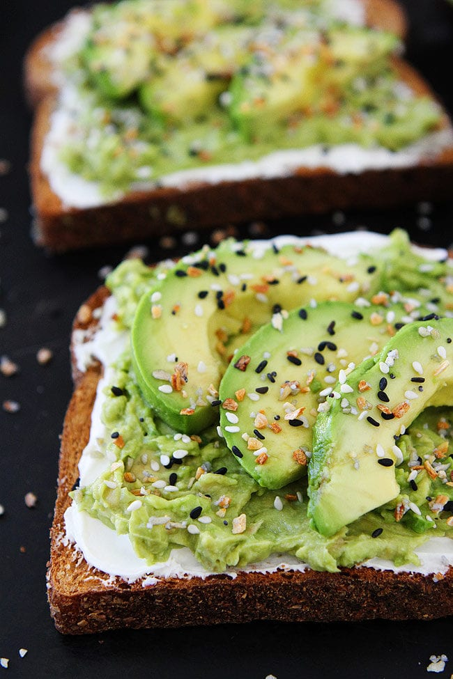 Everything Bagel Avocado Toast made with Everything Bagel Seasoning and cream cheese