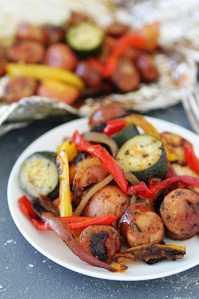 Grilled Sausage and Vegetable Foil Packets make a great summer dinner. They are easy to make and the clean up is a breeze.