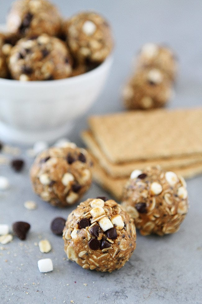 No-Bake S'mores Energy Bites are a great healthy snack. These protein balls are a family favorite!
