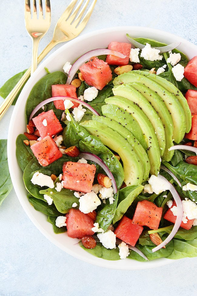 Watermelon Salad Recipe with avocado, feta, and poppy seed dressing