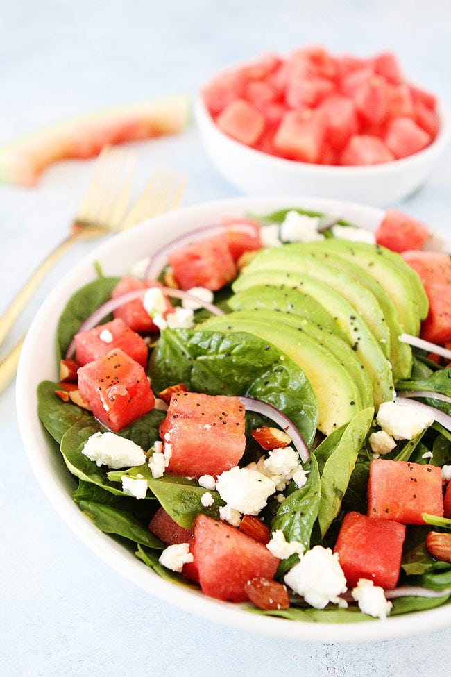 Watermelon Avocado Spinach Salad with Poppy Seed Dressing