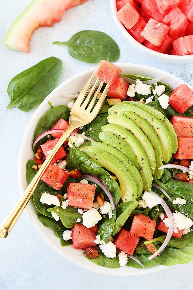 Watermelon Avocado Spinach Salad with Poppy Seed Dressing is an easy summer side dish