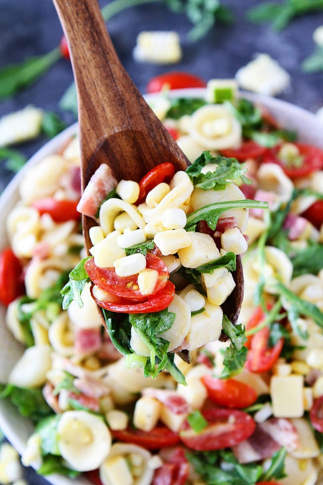 Bacon Corn Tomato Pasta Salad is a summer favorite! Everyone loves this easy pasta salad.