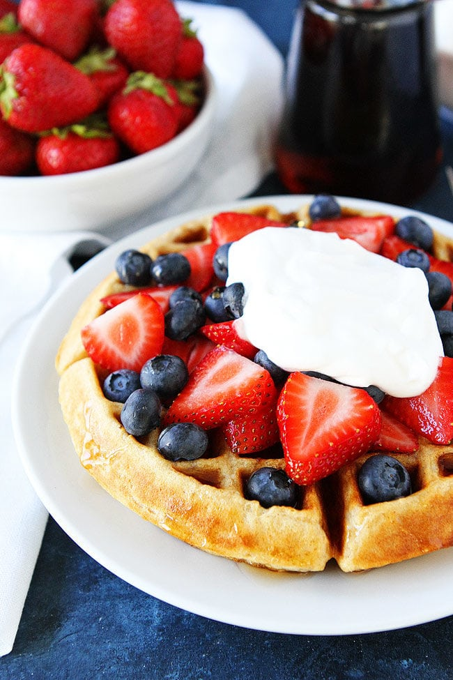 Belgian waffles recipe two peas their pod easy belgian waffle recipe with strawberries and whipped cream forumfinder Choice Image
