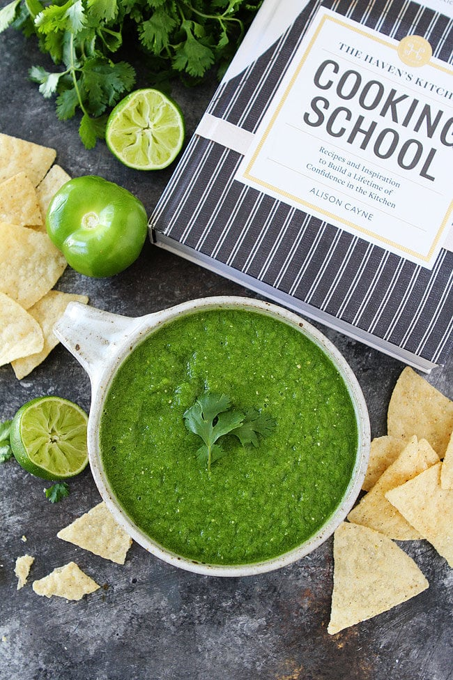 Easy Tomatillo Salsa Recipe made in the blender