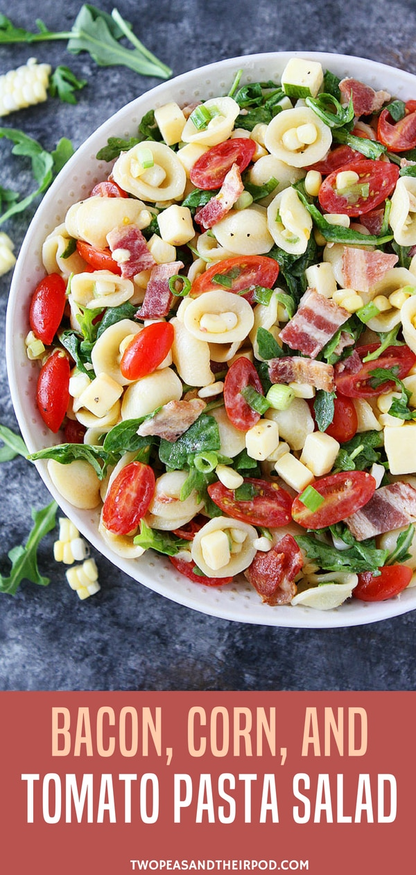 Bacon, Corn, and Tomato Pasta Salad-this easy pasta salad is the perfect summer side dish.