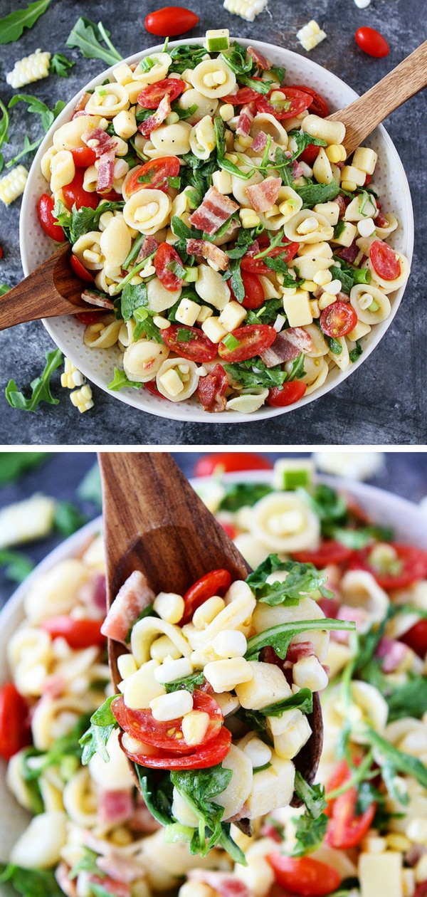 The next time you need to make an easy pasta salad, make this Bacon, Corn, and Tomato Pasta Salad. It is great for picnics, potlucks, parties, or an easy weeknight meal. Enjoy!