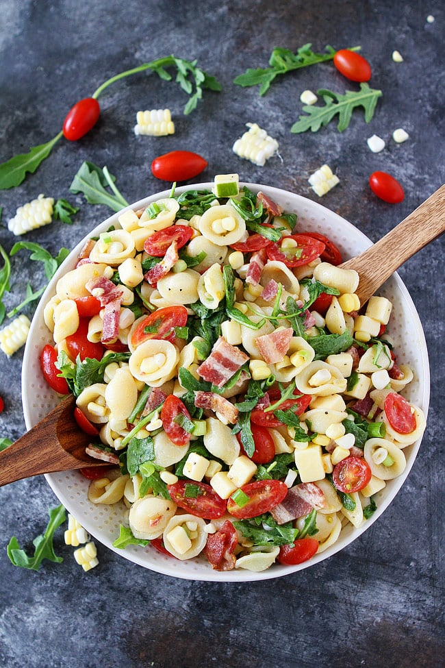 Bacon Corn Tomato Pasta Salad Recipe is the perfect summer side dish.