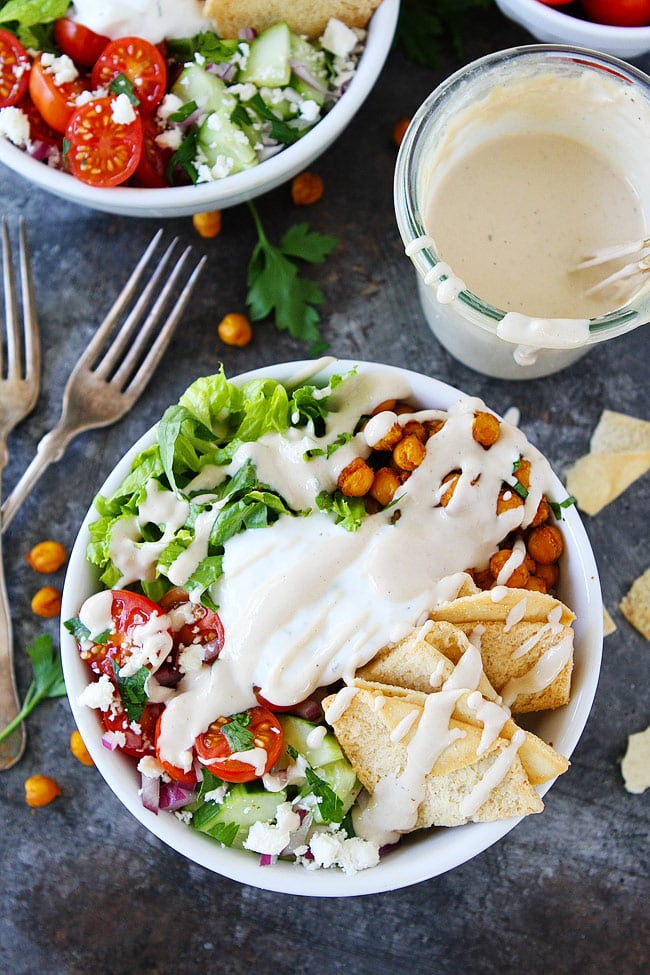 Your family will love these easy and healthy Chickpea Shawarma Bowls. They can be made in advance for on the go lunches or easy weeknight meals.