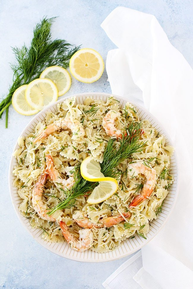 Easy Shrimp Pasta Salad-this cold pasta salad only takes 20 minutes to make.