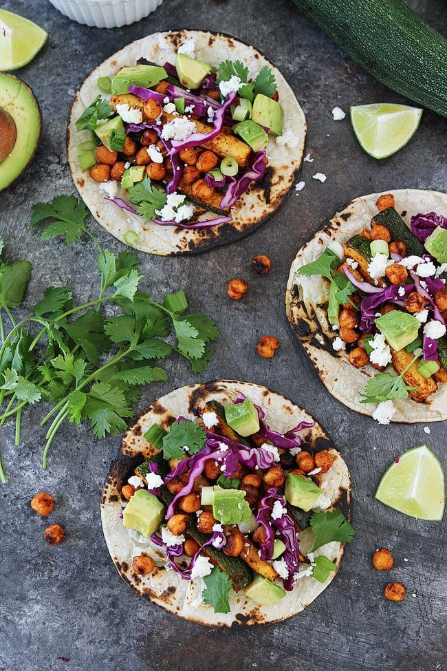 Grilled Zucchini Chickpea Tacos are a great 30 minute meal!