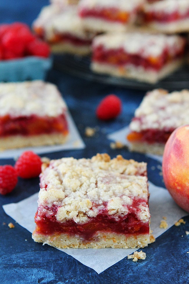Peach Raspberry Crumb Bars are a favorite summer dessert.