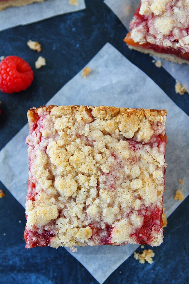 Peach Raspberry Bars with a crumb topping