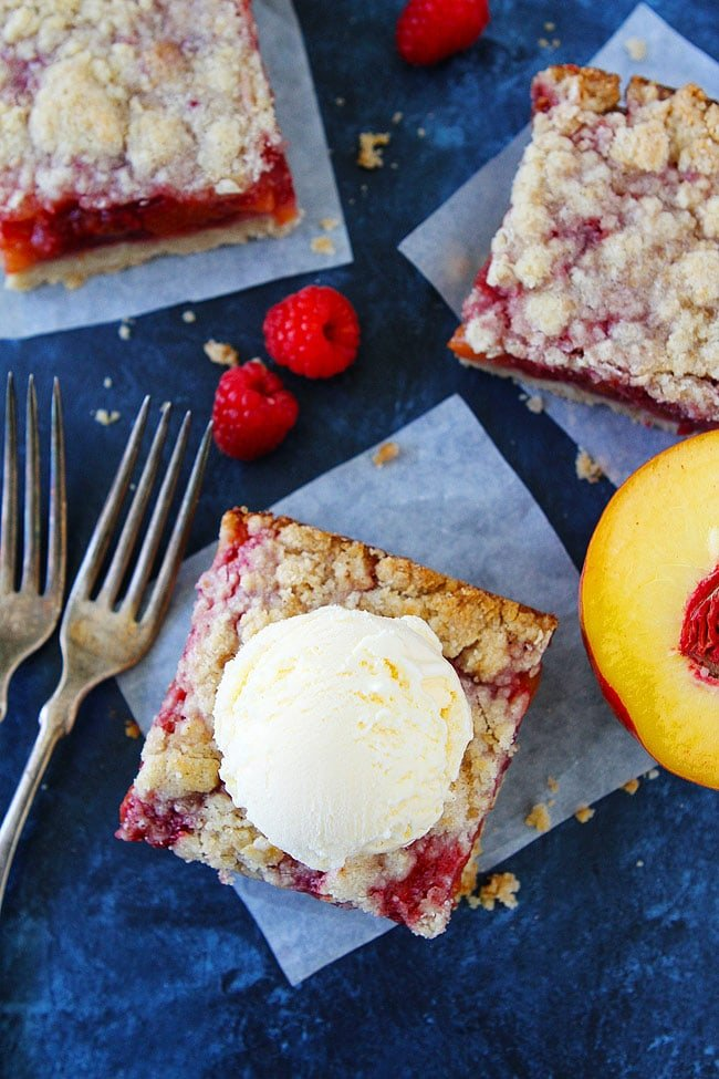Peach Raspberry Crumb Bars are a family favorite summer dessert