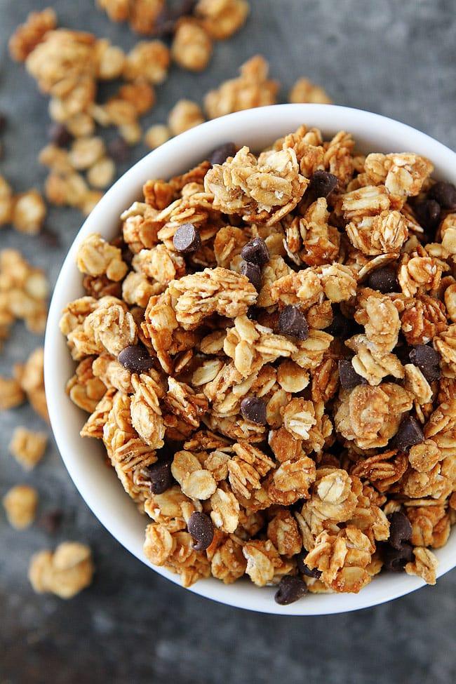 Peanut Butter Granola Recipe with mini chocolate chips