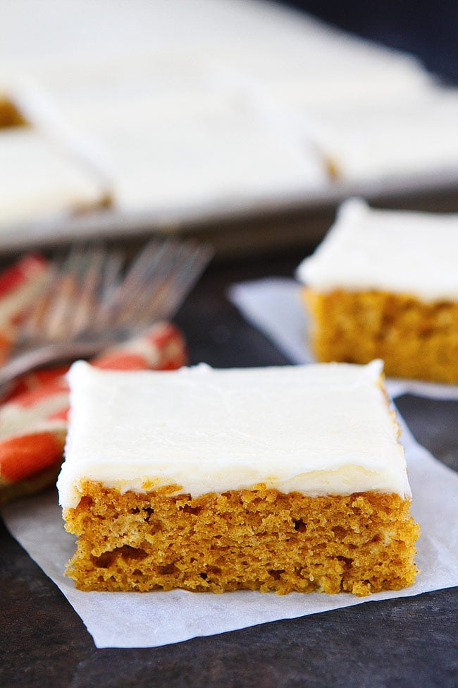 Pumpkin Sheet Cake with Brown Butter Frosting is the perfect dessert for fall. The cake is easy to make, feeds a crowd, and always gets rave reviews. Everyone loves this easy sheet cake recipe!