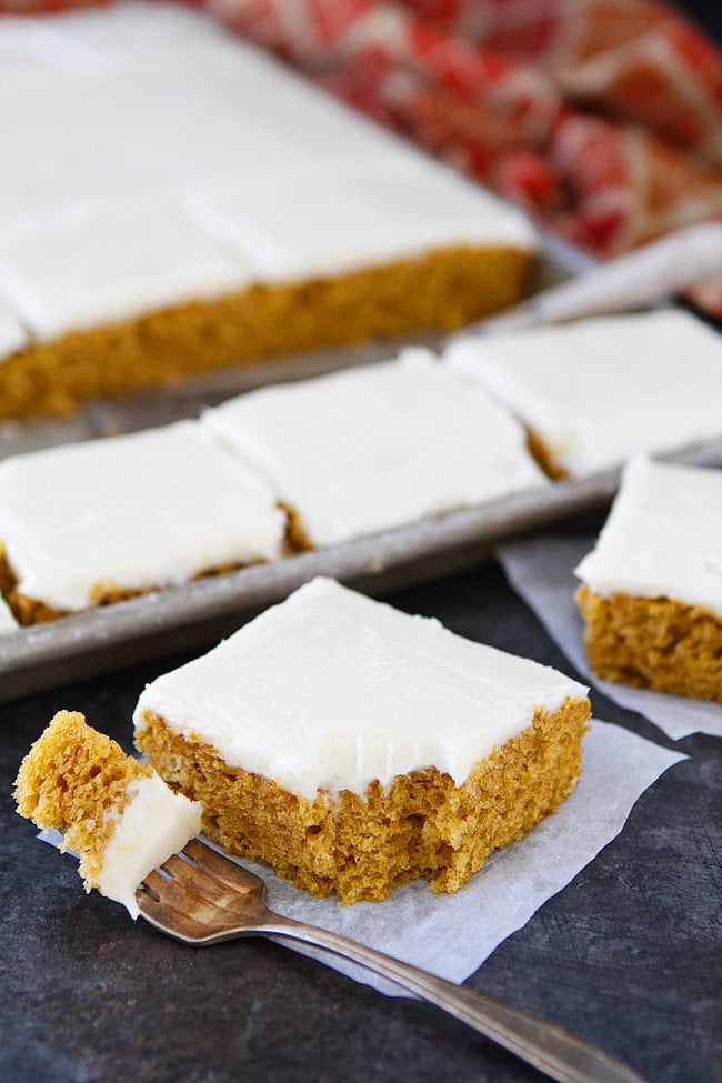 Pumpkin Sheet Cake with Brown Butter Cream Cheese Frosting is the perfect dessert for fall.
