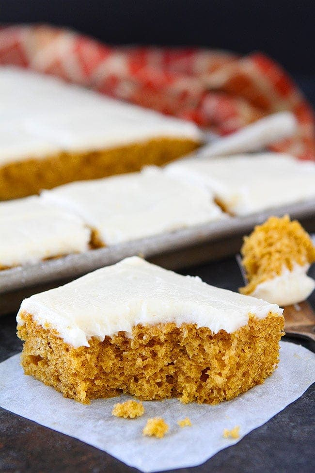 Pumpkin Sheet Cake with Brown Butter Cream Cheese Frosting is the perfect dessert for fall. Everyone loves this easy sheet cake recipe!