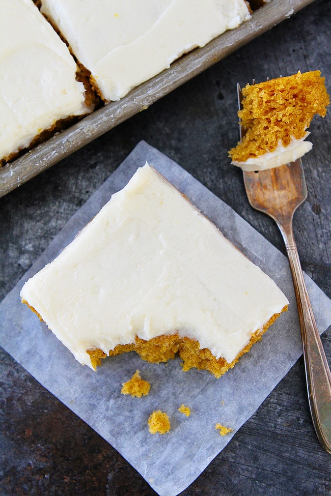 Pumpkin Sheet Cake with Brown Butter Cream Cheese Frosting Recipe is the perfect fall dessert!