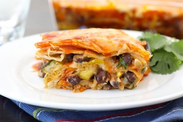 Stacked Roasted Vegetable Enchiladas make a great easy weeknight dinner