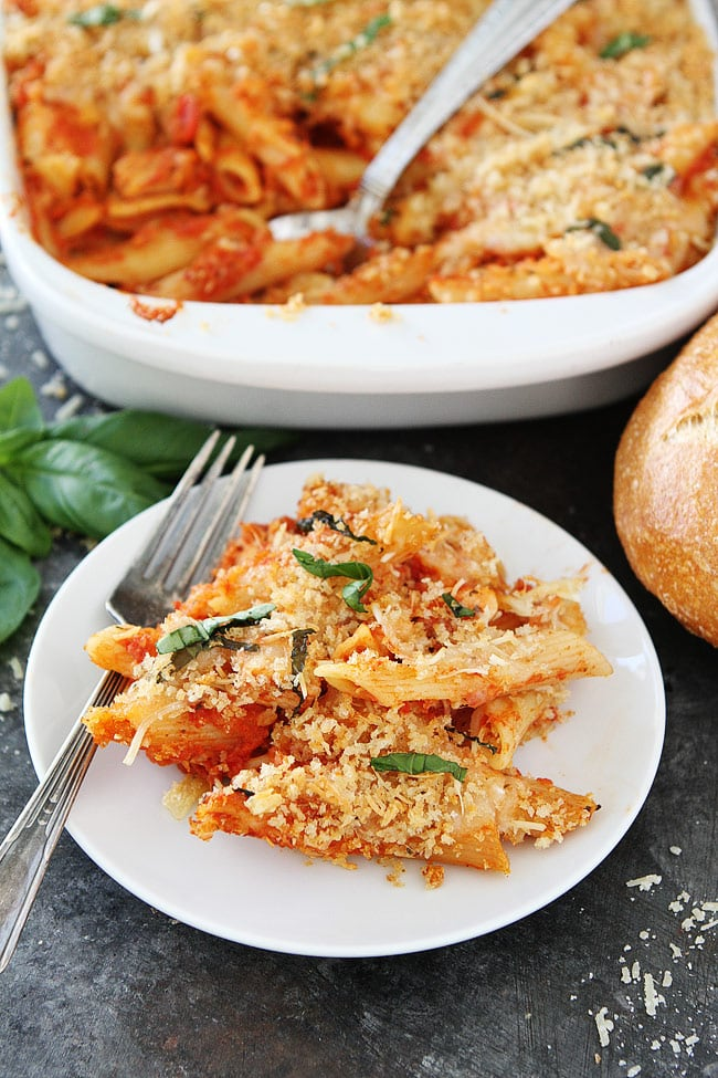 Chicken Parmesan Baked Pasta is an easy weeknight dinner!