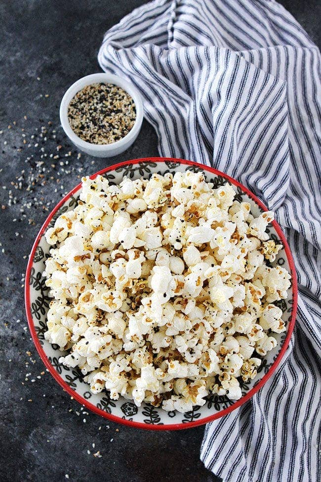 Everything Bagel Popcorn is a great gluten-free snack!