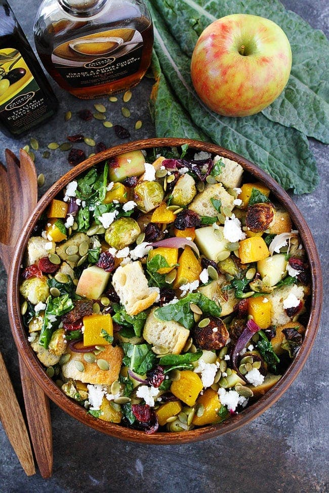 Fall Panzanella Salad-this easy fall salad is the perfect side dish for Thanksgiving! #Thanksgiving #salad #vegetarian