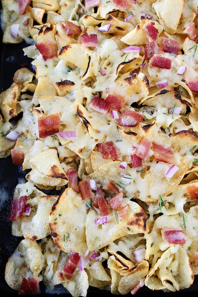 Kettle Chip Nachos with bacon and rosemary are the perfect holiday appetizer.