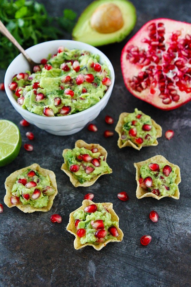 Pomegranate Guacamole is an easy and festive appetizer for Christmas.