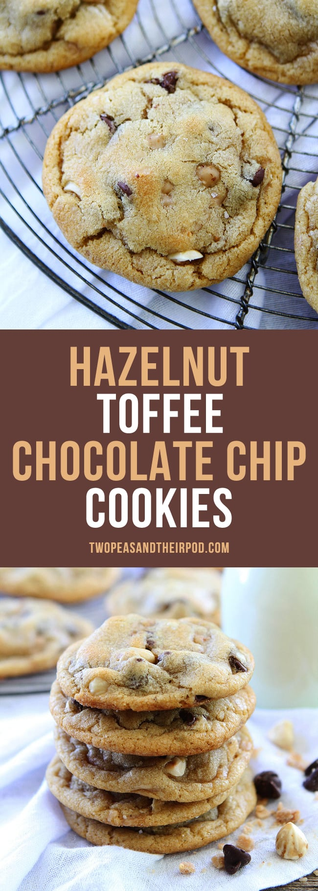 Hazelnut Toffee Chocolate Chip Cookies-perfect chocolate chip cookies with hazelnuts, toffee, and a sprinkling of sea salt. #cookies #chocolatechip #chocolatechipcookies