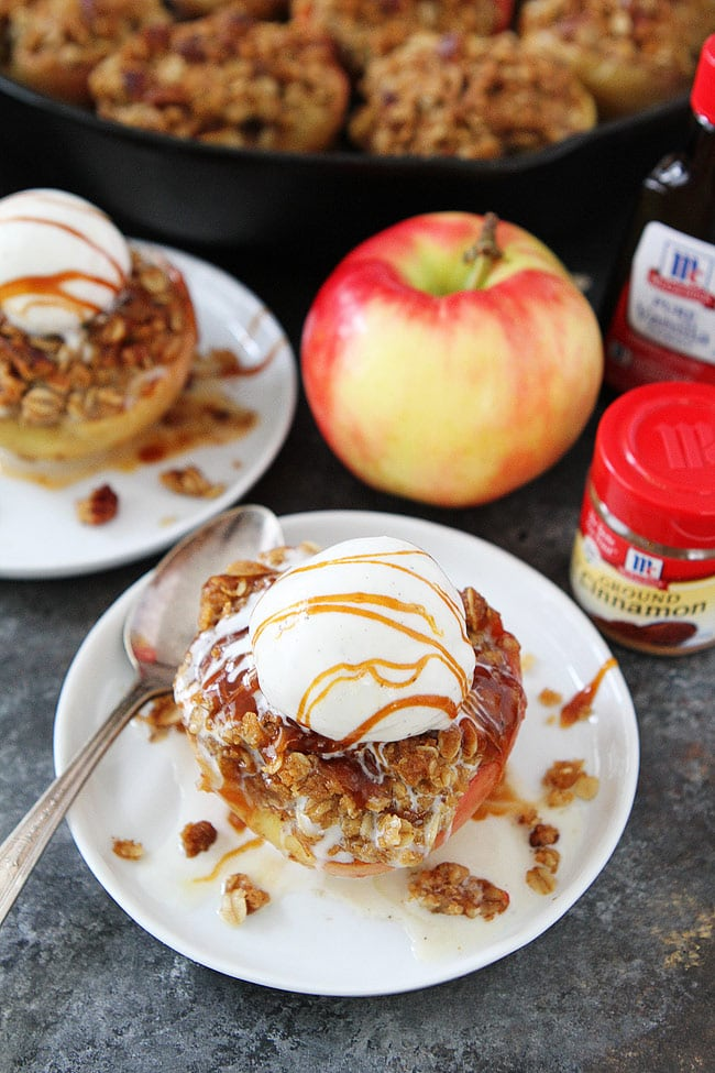 Baked Apples with brown butter cinnamon streusel topping! Serve with vanilla ice cream and salted caramel sauce for an extra special dessert.