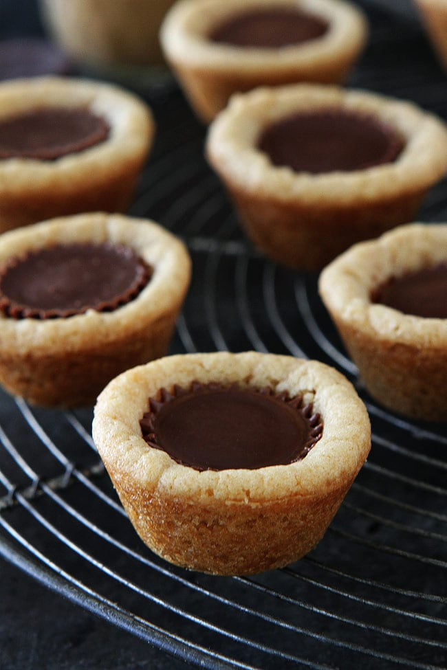 Peanut Butter Cup Cookies-peanut butter cookies made in mini muffin tins with a peanut butter cup in the center. These cookie cups are a family favorite dessert! #peanutbutter #cookies #peanutbuttercookies