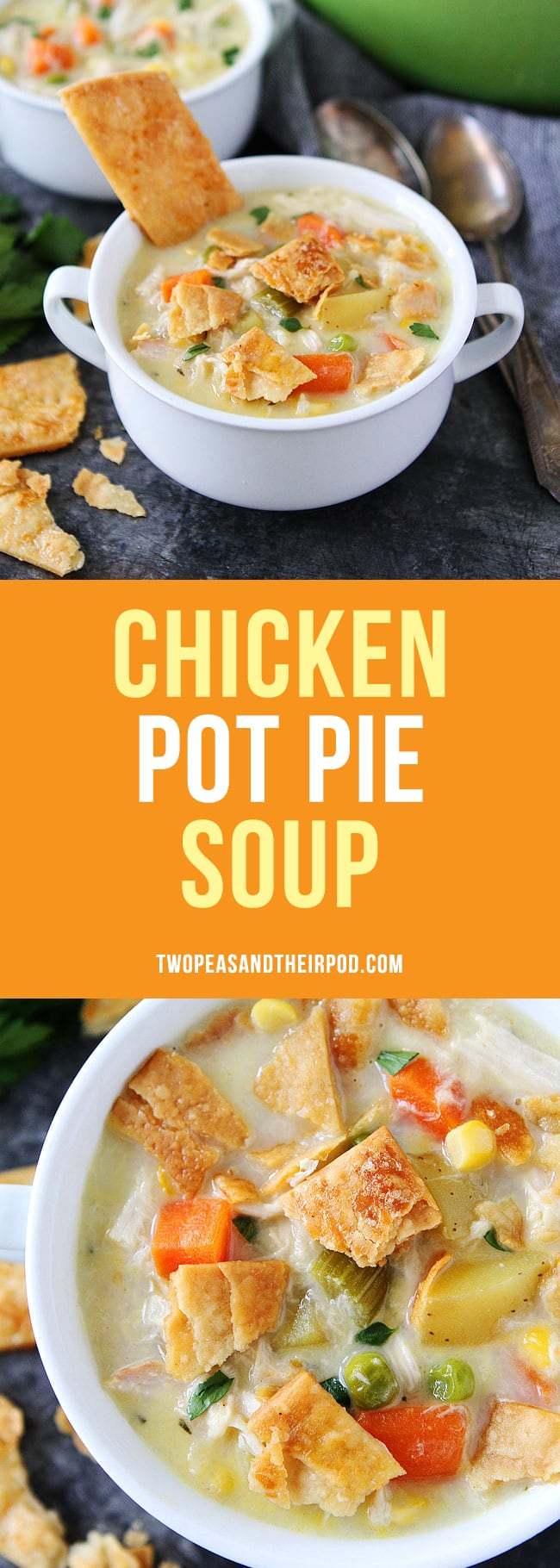 Chicken Pot Pie Soup tastes just like chicken pot pie but SO much easier. Use rotisserie chicken for a super easy dinner! #chicken #chickenrecipes #soup #dinner #leftovers
