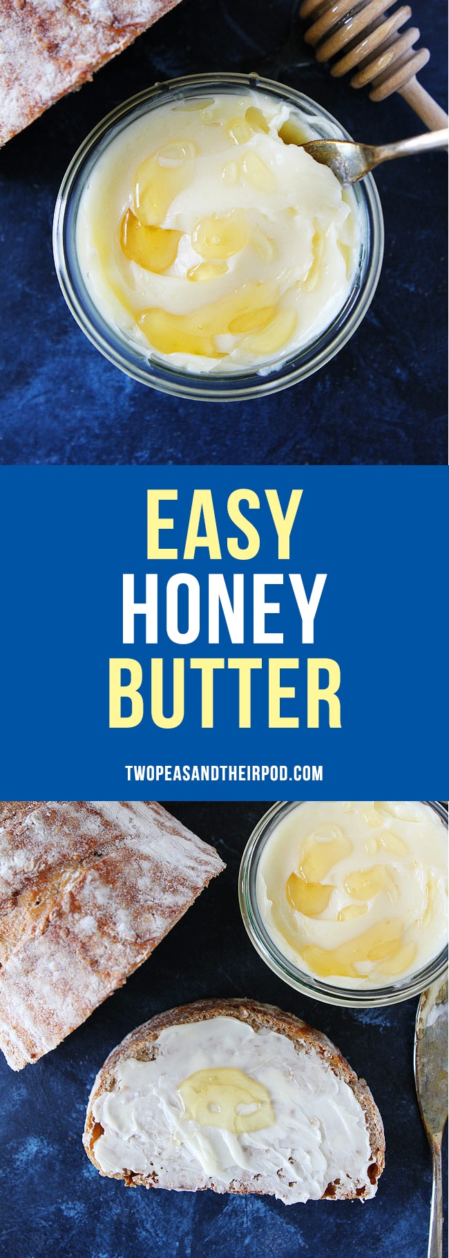 Easy Honey Butter-you only need 2 ingredients to make this delicious homemade butter! It is great with butter, rolls, pancakes, waffles, and more! #butter #honey