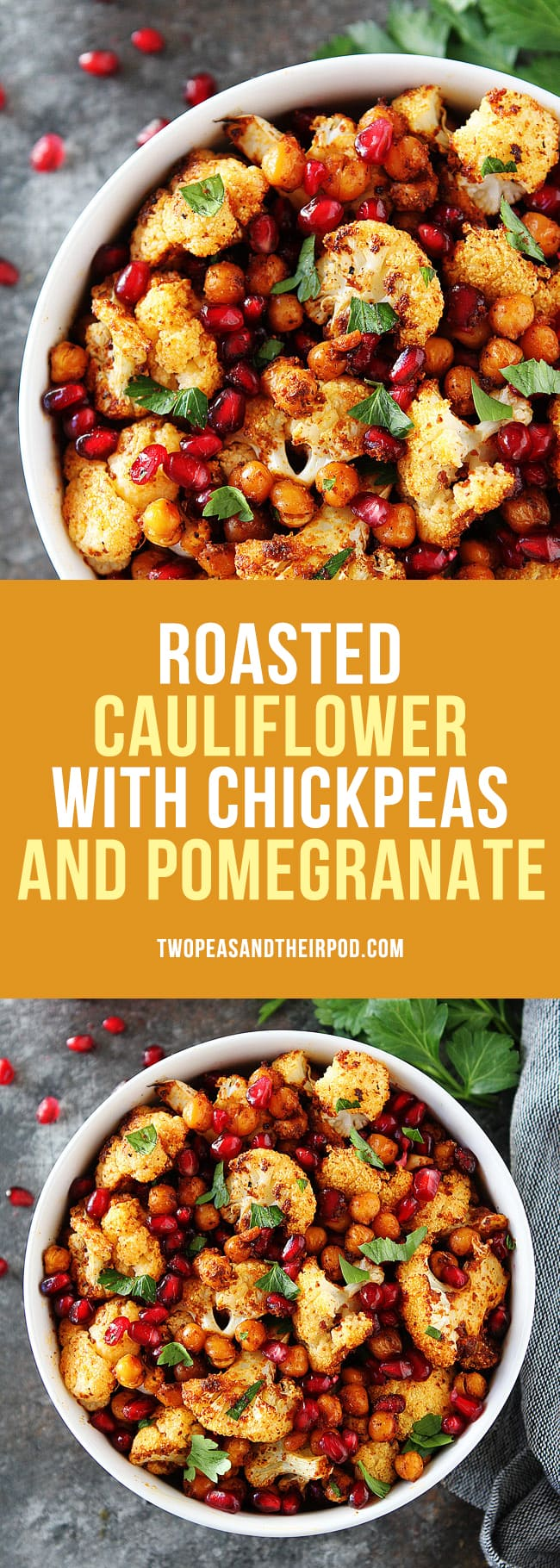Roasted Cauliflower with Chickpeasand Pomegranate is a delicious and healthy side dish that goes great with any meal! #vegan #glutenfree #cauliflower #chickpeas