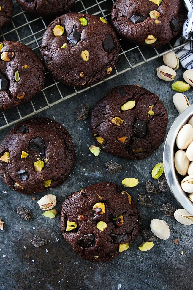 Chocolate Pistachio Cookies-chocolate cookies with chocolate chunks, pistachios, and a sprinkling of sea salt. These cookies are a great Christmas cookie or any day cookie!