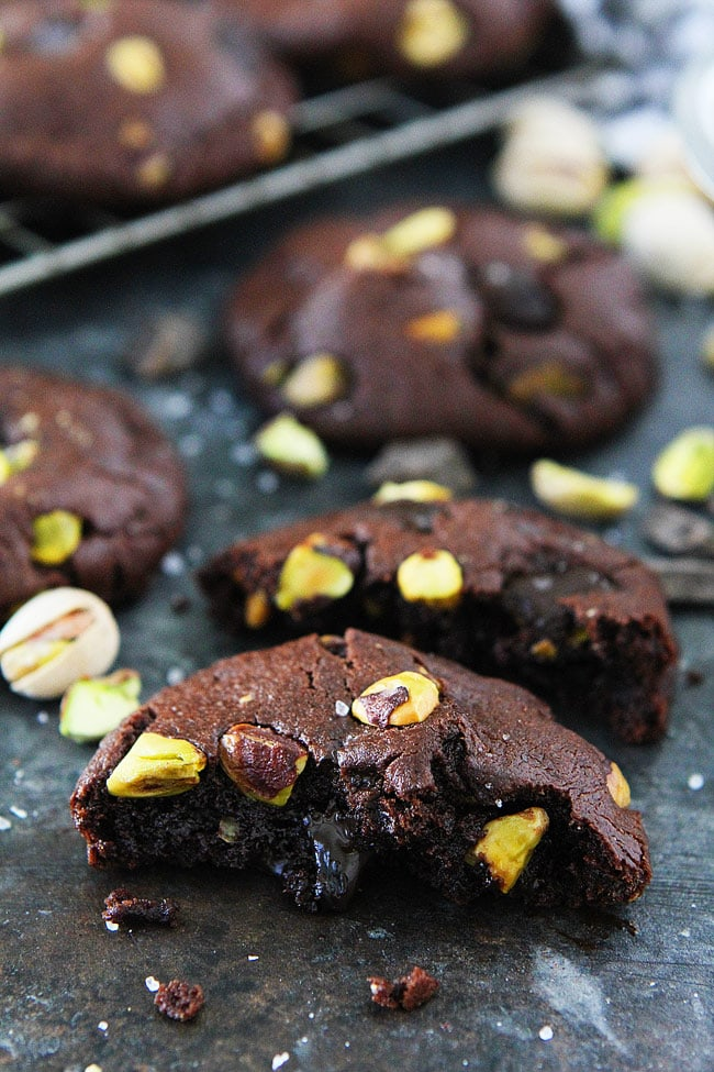 Chocolate Pistachio Cookies with chocolate chunks, pistachios, and sea salt. These cookies are a family favorite! #cookies #chocolate #pistachio