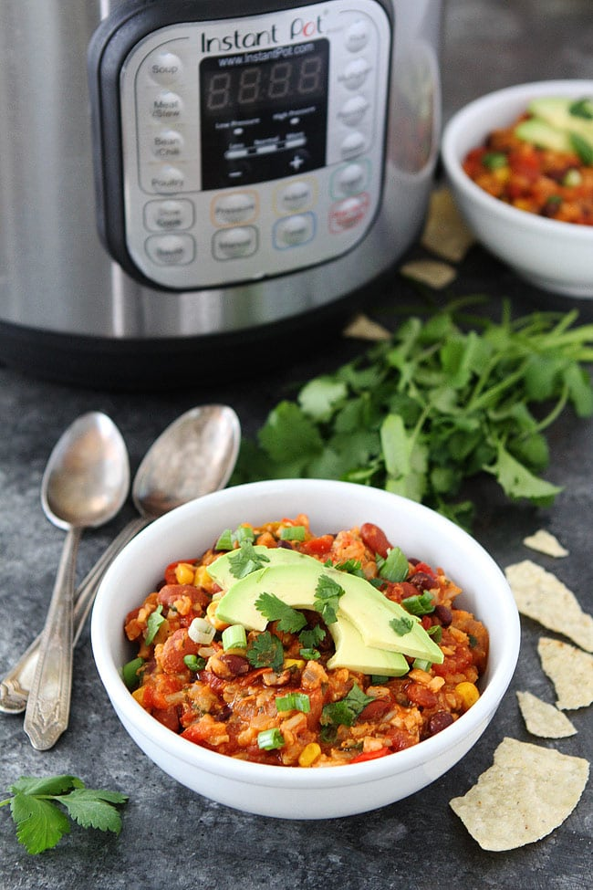 Easy Mexican Rice Casserole is made in the Instant Pot and an easy weeknight dinner! #vegetarian #glutenfree #InstantPot #pressurecooker