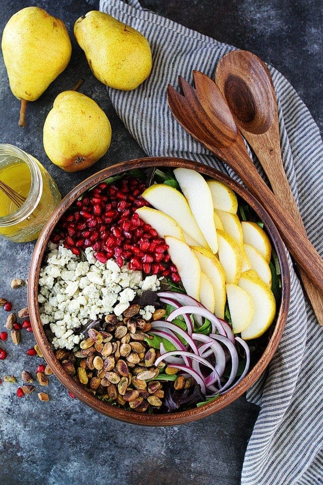 Pear Pomegranate Salad is the perfect salad for your holiday meal! #salad #glutenfree #Christmas #holidays